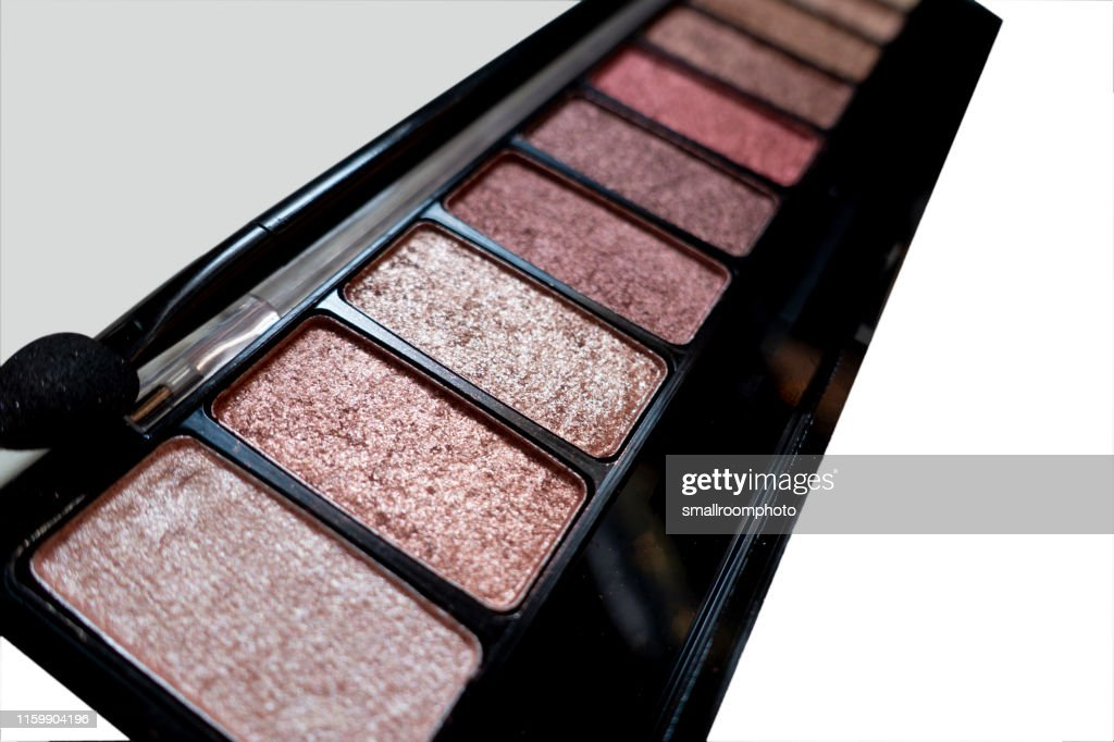 cosmetic makeup twelve-colors eye shadow on white background : Stock Photo