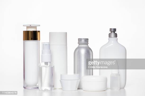 cosmetic products on white background - cosmetics stock pictures, royalty-free photos & images