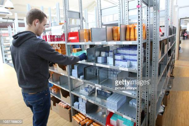 Cosmetic products seen on shelves in the logistics centre of the mailorder pharmarcy aporot in Hamburg Germany 21 April 2017 Photo Bodo Marks/dpa |...