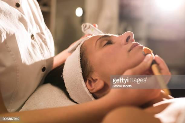 cosmetic treatment on face - acne foto e immagini stock