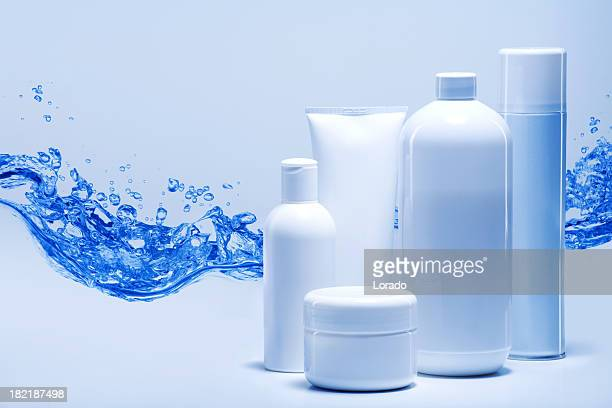 cosmetics against water background