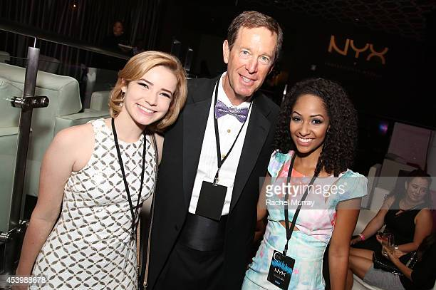 Cosmetics CEO Scott Friedman with finalists Erin Timony and Kennedy Knight attend NYX FACE Awards 2014 Presented by NYX Cosmetics at Club Nokia on...
