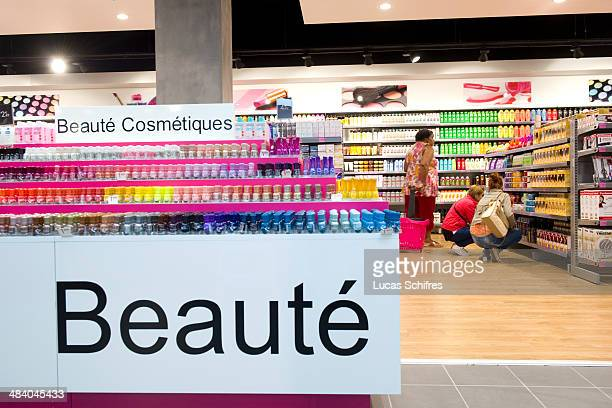 Cosmetics department in Tati's newly designed store in Belle Epine mall on September 25 in Thiais near Paris France Tati is a brand of discounted...