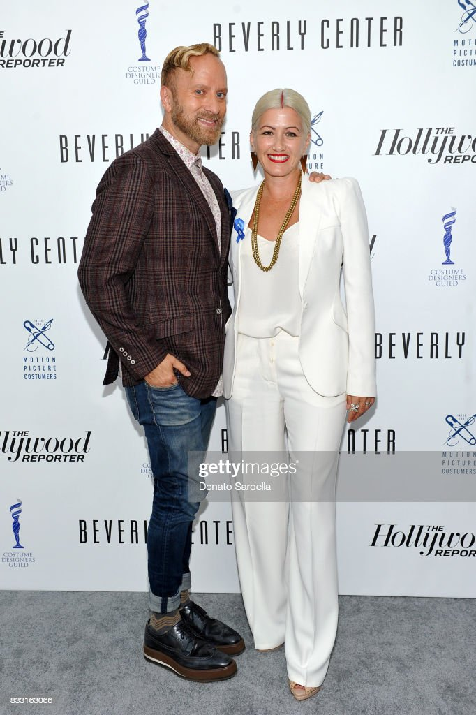 Cosmetics Director of Makeup Artistry Gregory Arlt (L) and Emmy-nominated 'Westworld' costume designer, Trish Summerville at Beverly Center and The Hollywood Reporter's Candidly Costume event at Beverly Center on August 16, 2017 in Los Angeles, California.