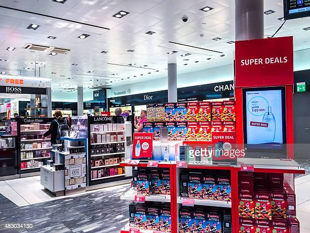 Cosmetics in Duty Free Shop at Oslo Airport, Norway