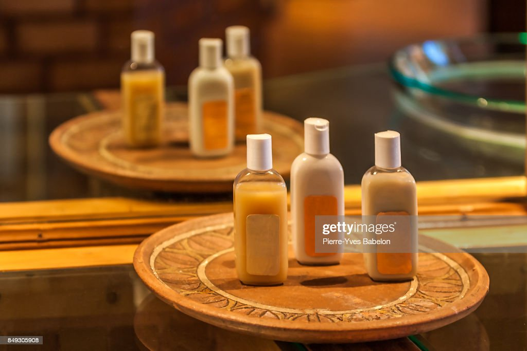 Cosmetics in the hotel bathroom : Stock Photo