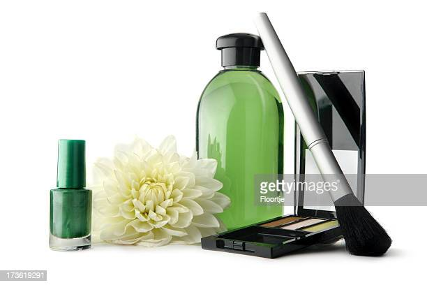 Cosmetics: Nail Polish, Eyeshadow, Brush, Soap and Flower