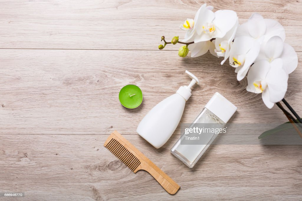 Cosmetics on a wooden background : Stock Photo