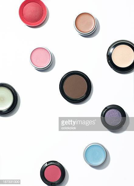 cosmetics on white background - eyeshadow stock pictures, royalty-free photos & images