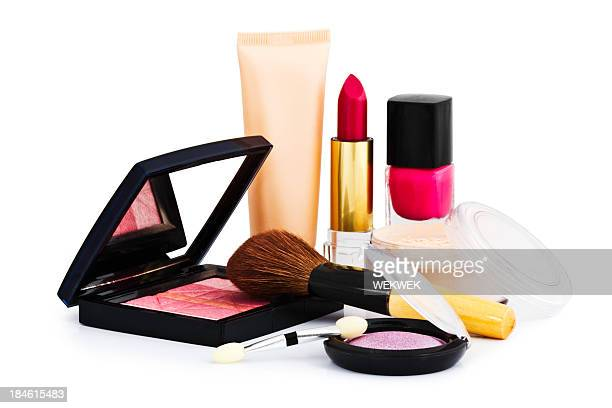 Cosmetics on white background