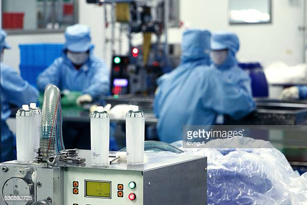 cosmetics product assembly line in workshop