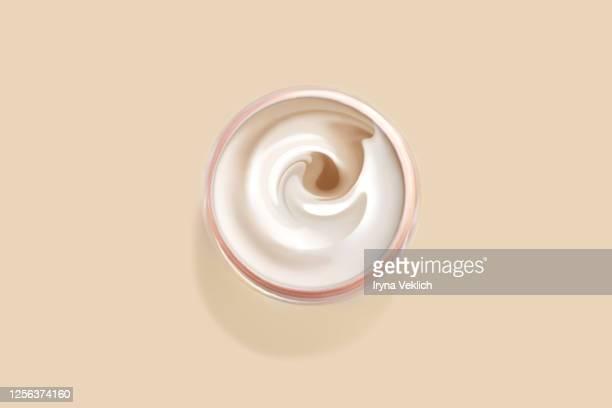 cosmetics product design of moisturizing cream, top view. - windung stock-fotos und bilder