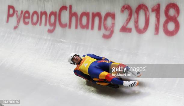 Cosmin Atodiresei and Stefan Musei of Romania compete in the Team Relay at Olympic Sliding Centre on February 15 2018 in Pyeongchanggun South Korea