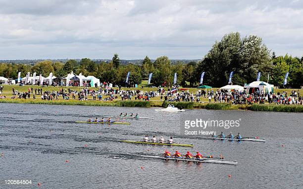 CosminIlie Cuciurean Adrian Cionca Ionut Luca and Ioan Prundeanu of Romania win Gold during the Junior Men's Quadruple Sculls on Day Five of the FISA...