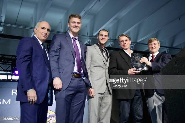 Cosmo DeNicola Chase Litton Riley L Ferguson Rick Spielman and Leigh Steinberg pose onstage during Leigh Steinberg Super Bowl Party 2018 on February...
