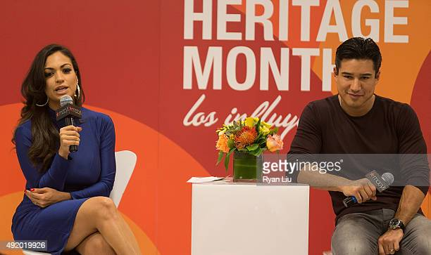Cosmo for Latinas Beauty Editor Milly Almodovar and TV personality Mario Lopez speak onstage at Macy's Herald Square Celebrates Hispanic Heritage...