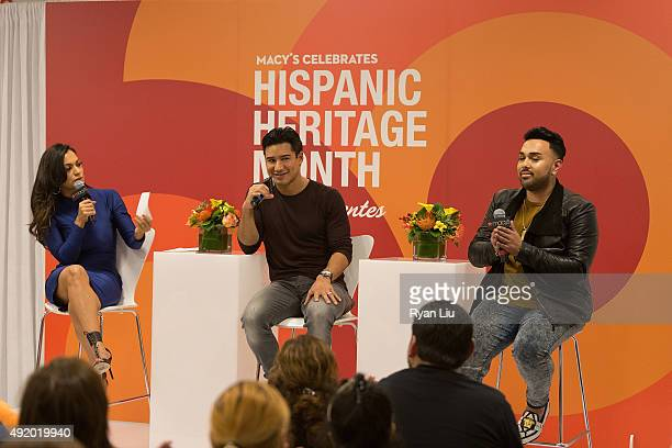 Cosmo for Latinas Beauty Editor Milly Almodovar TV personality Mario Lopez and celebrity stylist Angel Merino speak onstage at Macy's Herald Square...
