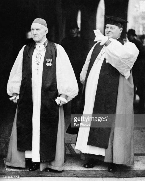 Cosmo Gordon Lang the Archbishop of Canterbury with William Temple the Archbishop of York as they leave an Accession Council of Privy Councillors at...