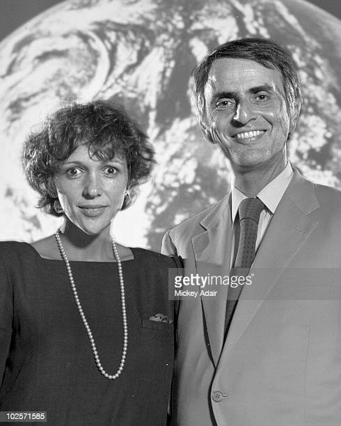 Cosmologist and author Carl Sagan and his wife author Ann Druyan pose in the Turnbull Conference Center on the campus of Florida State University in...