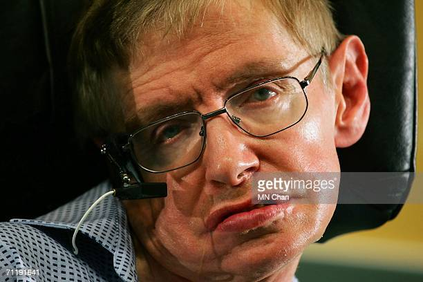 Cosmologist Stephen Hawking appears at a news conference June 13 2006 in Hong Kong China Hawking will deliver a public lecture on 'The Origin of the...