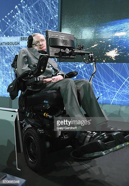 Cosmologist Stephen Hawking attends the New Space Exploration Initiative 'Breakthrough Starshot' Announcement at One World Observatory on April 12...