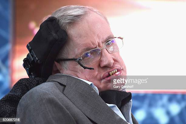 Cosmologist Stephen Hawking attends the New Space Exploration Initiative Breakthrough Starshot Announcement at One World Observatory on April 12 2016...