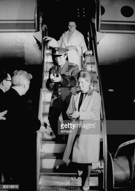 Cosmonauts Yuri Gagarin and Valentina Tereshkova arriving in NYC