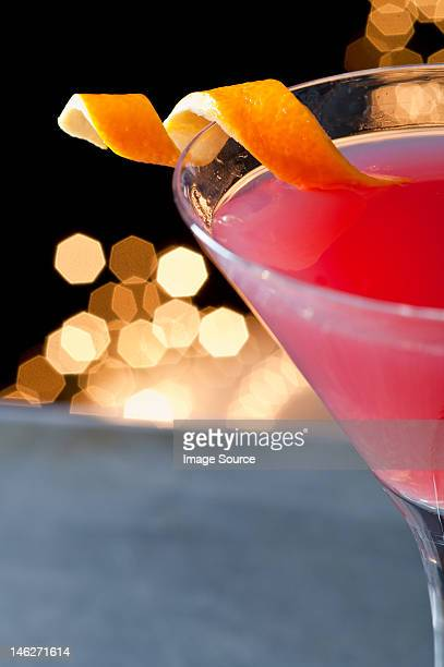 Cosmopolitan cocktail with twist of orange peel