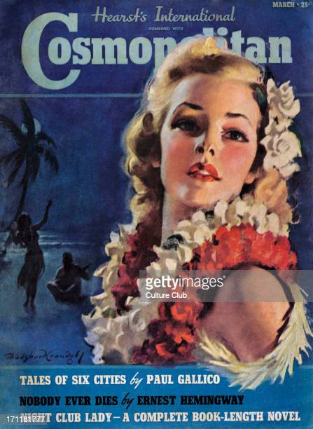 Cosmopolitan Magazine cover. March 1939 issue. Girl with blonde hair and Hawaiian flower lei - illustration for story inside the magazine.