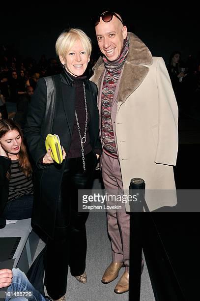 Cosmopolitan Magazine EditorinChief Joanna Coles and stylist Robert Verdi attend the Kaufmanfranco Fall 2013 fashion show during MercedesBenz Fashion...