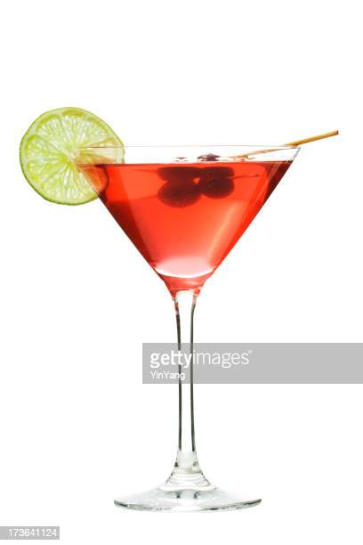 Cosmopolitan Red Cocktail Drink in Martini Glass, Isolated on White
