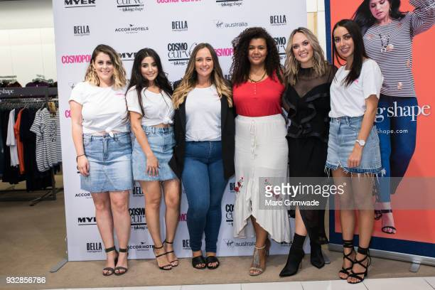 Cosmopolitan staff with Brisbane winner Loren Burton and Cosmopolitan editor Keshnee Kemp at the Cosmo Curve on March 16 2018 in Brisbane Australia