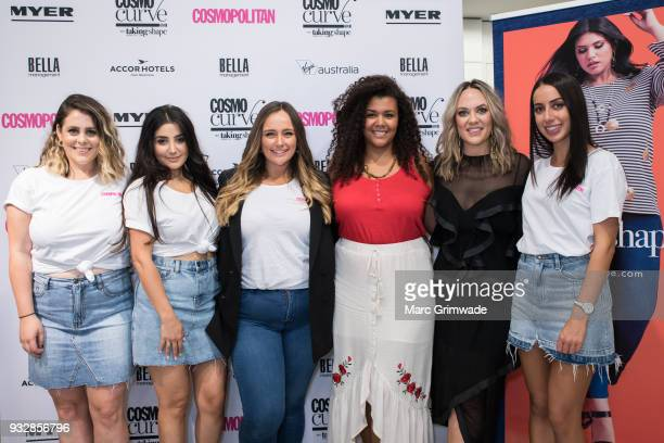 Cosmopolitan staff with Brisbane winner Loren Burton and Cosmopolitan editor Keshnee Kemp at the Cosmo Curve on March 16 2018 in Brisbane Australia