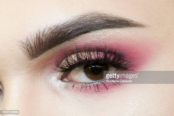 Cosmoprof visitor eyes detail is seen at Cosmoprof at BolognaFiere Exhibition Centre on March 17 2018 in Bologna Italy