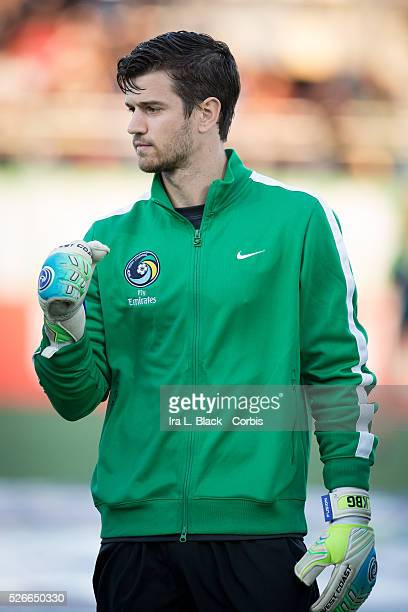 NY Cosmos goalkeeper Jimmy Maurer during the Soccer 2015 NASL NY Cosmos vs Tampa Bay Rowdies match on April 18 2015 at James M Shuart Stadium in...
