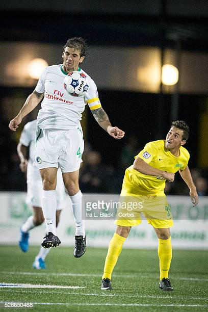 NY Cosmos player Carlos Mendes heads the ball for control during the Soccer 2015 NASL NY Cosmos vs Tampa Bay Rowdies match on April 18 2015 at James...