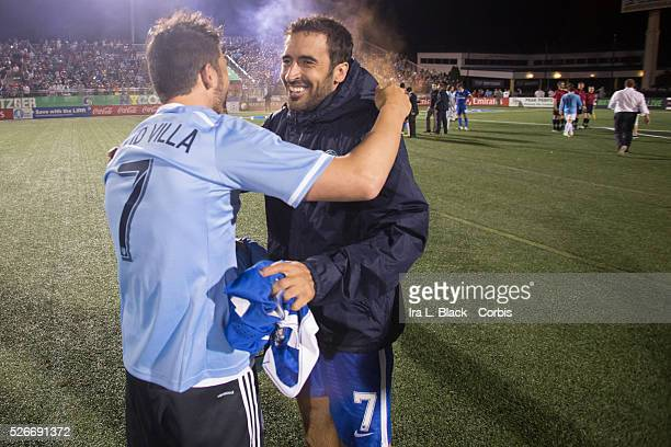NY Cosmos player Raul hugs New York City FC player David Villa after the Soccer 2015 Lamar Hunt US Open Cup Fourth Round New York City FC vs NY...