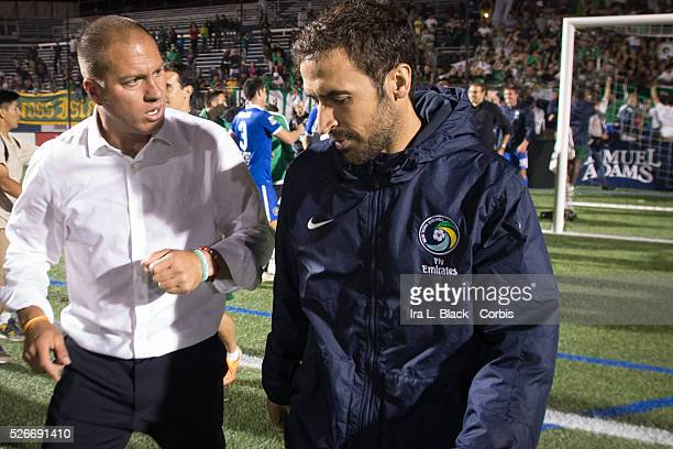 NY Cosmos player Raul with Erik Stover NY Cosmos Chief Operating Officer after the Soccer 2015 Lamar Hunt US Open Cup Fourth Round New York City FC...