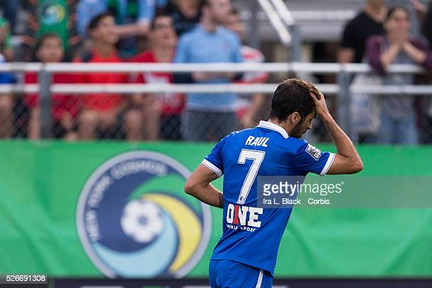 NY Cosmos player Raul with the Cosmos logo behind him during the Soccer 2015 Lamar Hunt US Open Cup Fourth Round New York City FC vs NY Cosmos on...