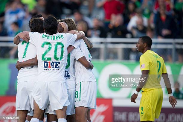 NY Cosmos players celebrate after the goal by Marcos Senna drives for the goal during the Soccer 2015 NASL NY Cosmos vs Tampa Bay Rowdies match on...