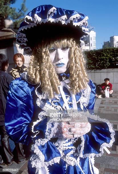 Cosplay - A flamboyant looking goth, Sunday sub-culture parade at Yoyogi-koen Harajuku, Tokyo 2001.