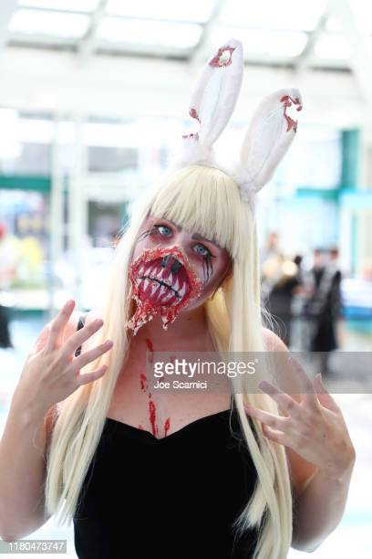 A cosplay character attends 2019 Los Angeles ComicCon at Los Angeles Convention Center on October 11 2019 in Los Angeles California