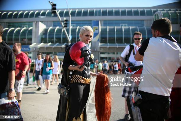 A cosplay character stands outside of the San Diego Convention Center during Comic Con International in San Diego California on Thursday July 20 2017...