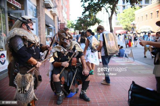 Cosplay characters along 5th Ave in the Gaslamp Quarter during Comic Con International in San Diego California on Thursday July 20 2017 Comic Con...