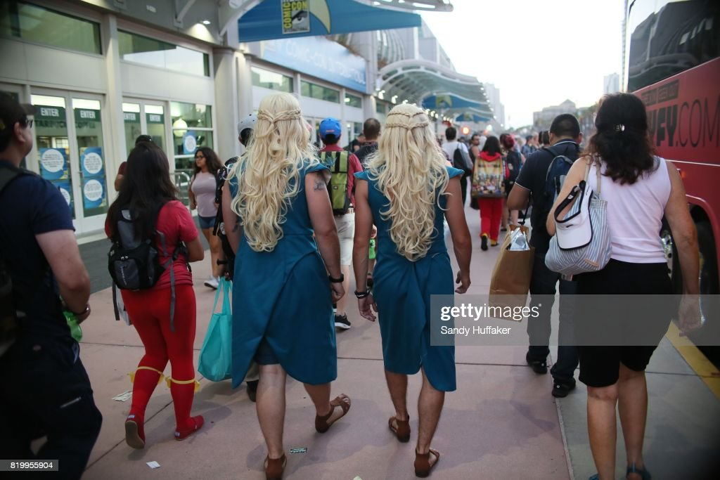 Cosplay characters dressed as Khaleesi from Game of Thrones walk outside the San Diego Convention Center during Comic Con International on July 20, 2017 in San Diego, California. Comic Con International is North America's largest Comic convention featuring pop culture and entertainment elements across virtually all genres, including horror, animation, anime, manga, toys, collectible card games, video games, webcomics, and fantasy novels as well as movie premieres and actor panels.