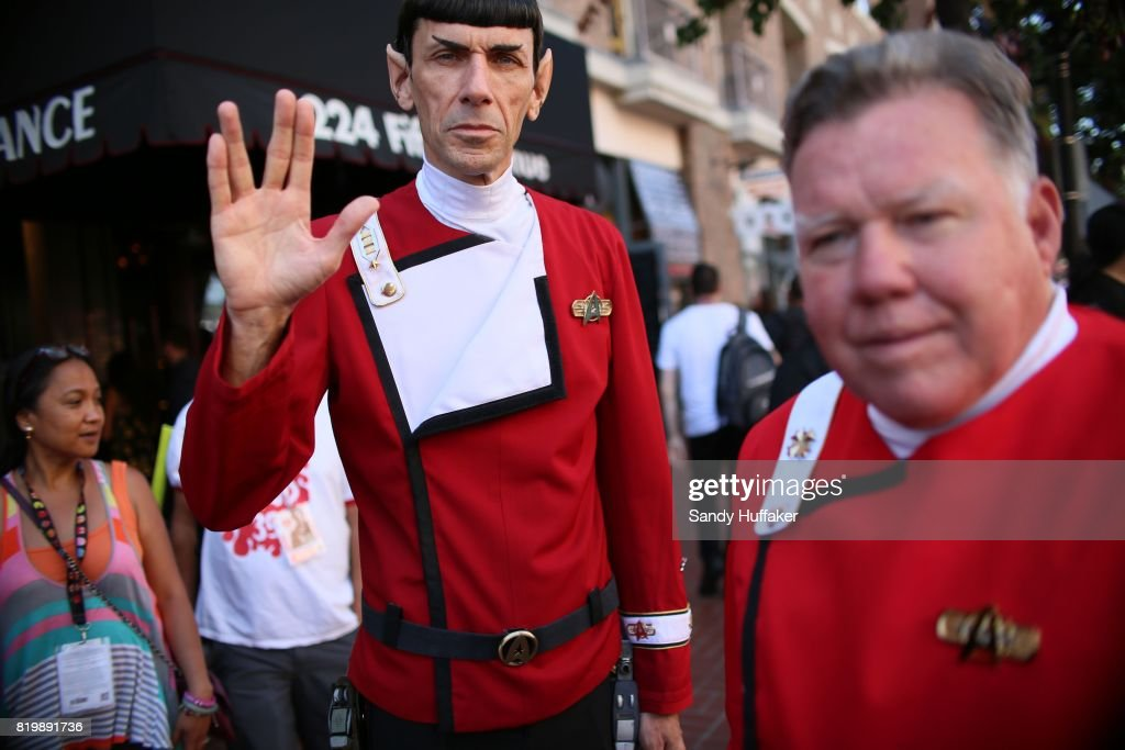 Cosplay characters dressed as Mr. Spock and Captain Kirk from Star Trek along 5th Ave.across from the San Diego Convention Center during Comic Con International in San Diego, California on Thursday, July 20, 2017. Comic Con International is North America's largest Comic convention featuring pop culture and entertainment elements across virtually all genres, including horror, animation, anime, manga, toys, collectible card games, video games, webcomics, and fantasy novels as well as movie premieres and actor panels.