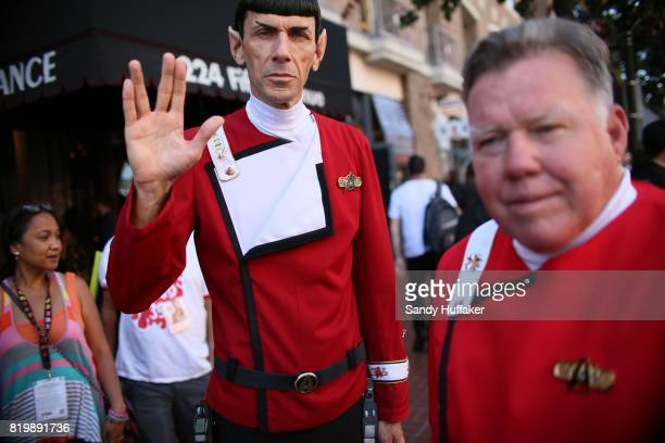Cosplay characters dressed as Mr Spock and Captain Kirk from Star Trek along 5th Aveacross from the San Diego Convention Center during Comic Con...
