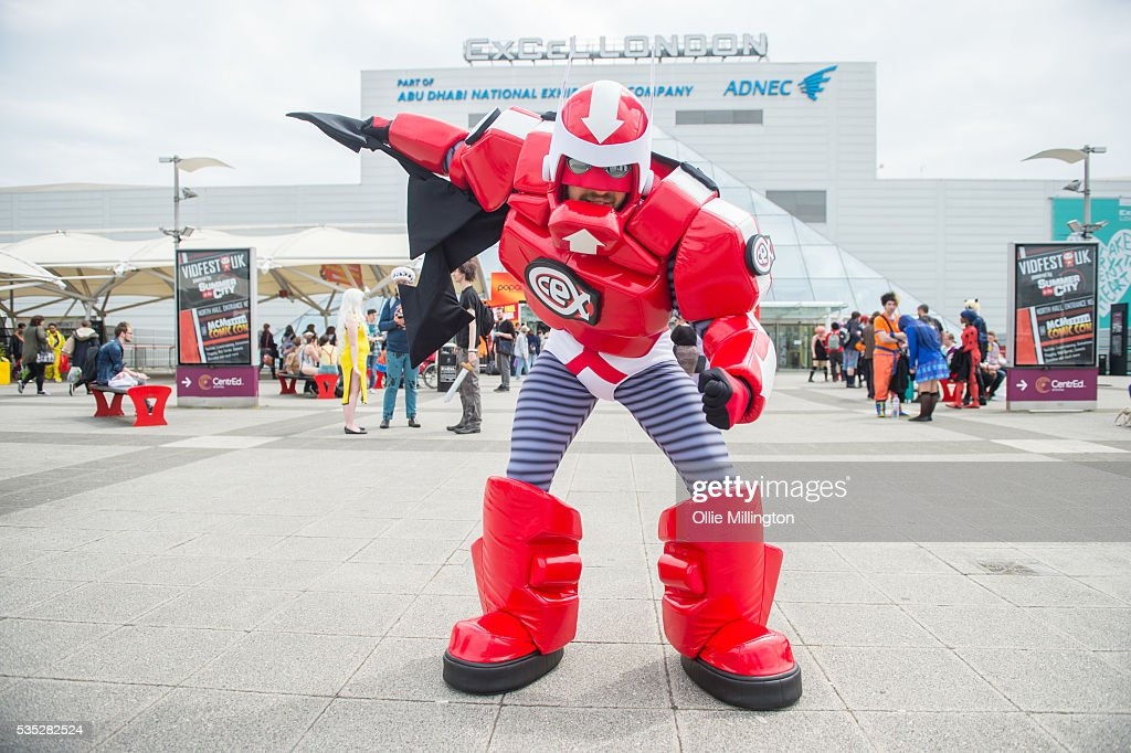 A cosplay enthusiast appears as CEX Man on Day 1 of MCM London Comic Con at The London ExCel on May 27, 2016 in London, England.