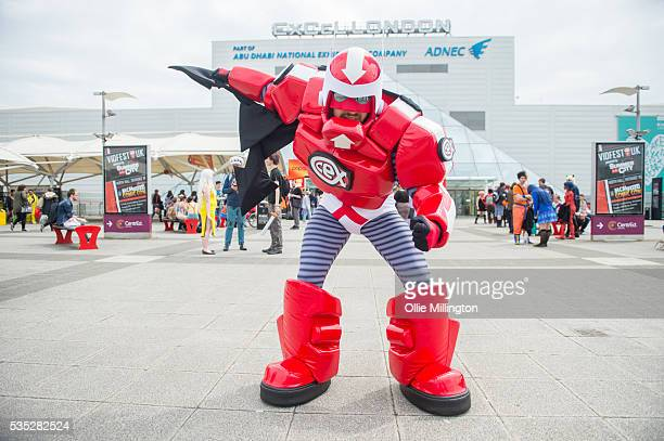Cosplay enthusiast appears as CEX Man on Day 1 of MCM London Comic Con at The London ExCel on May 27, 2016 in London, England.