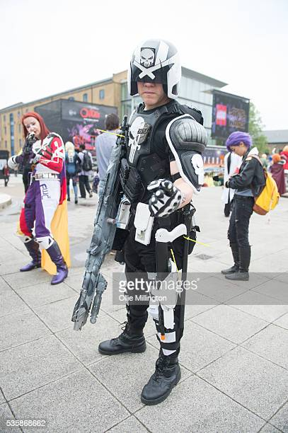 A cosplay enthusiast as Judge dread on Day 2 of MCM London Comic Con at The London ExCel on May 28 2016 in London England